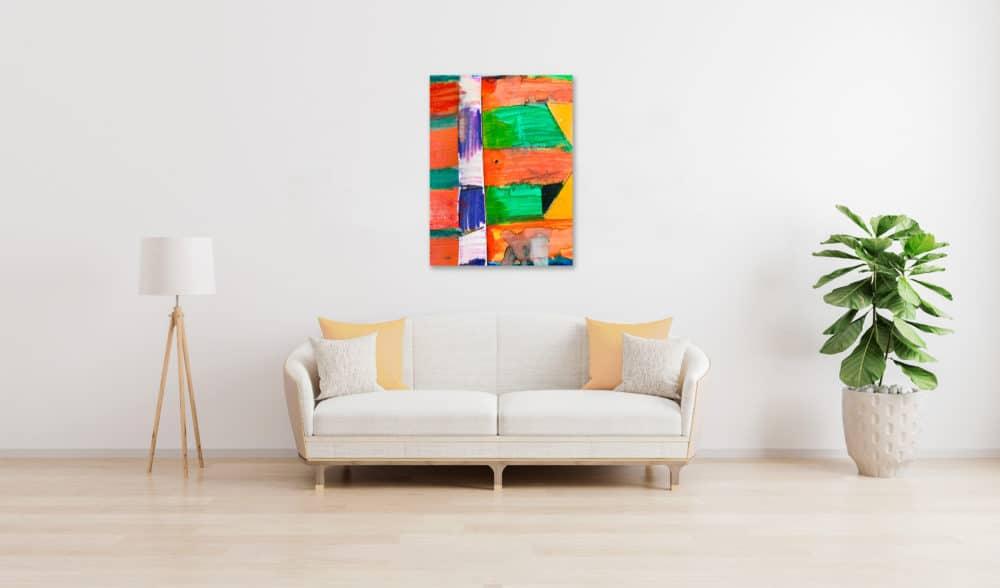 Abstraktes Acrylbild Rot Orange Zeichen wandbild