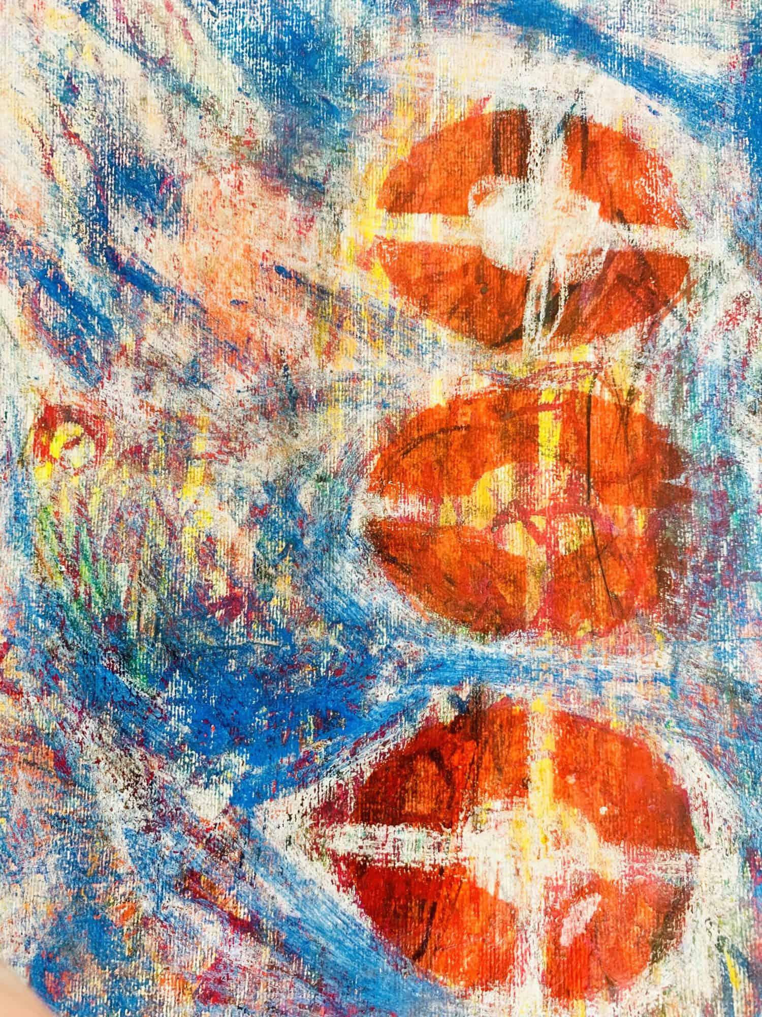 Abstraktes Acrylbild Rote runde Formen mit Blau