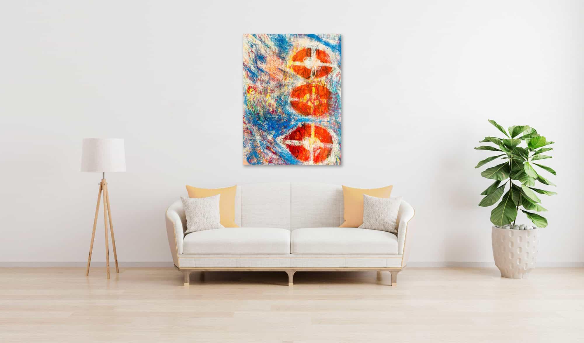 Abstraktes Acrylbild Rote runde Formen mit Blau wandbild