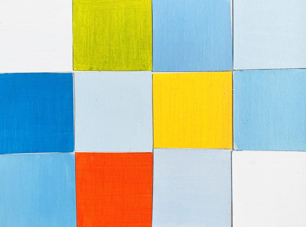 Abstraktes Acrylbild Rotes Quadrat mit Blau und Gelb