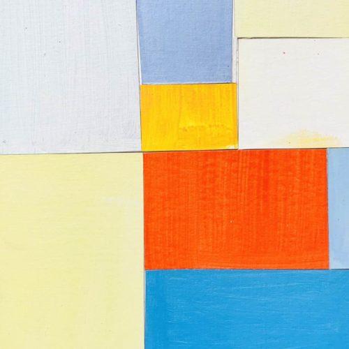 Abstraktes Acrylbild Rotes Quadrat mit Blau und Gelb Hell