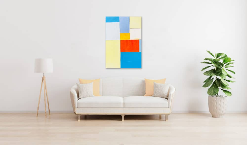 Abstraktes Acrylbild Rotes Quadrat mit Blau und Gelb Hell wandbild