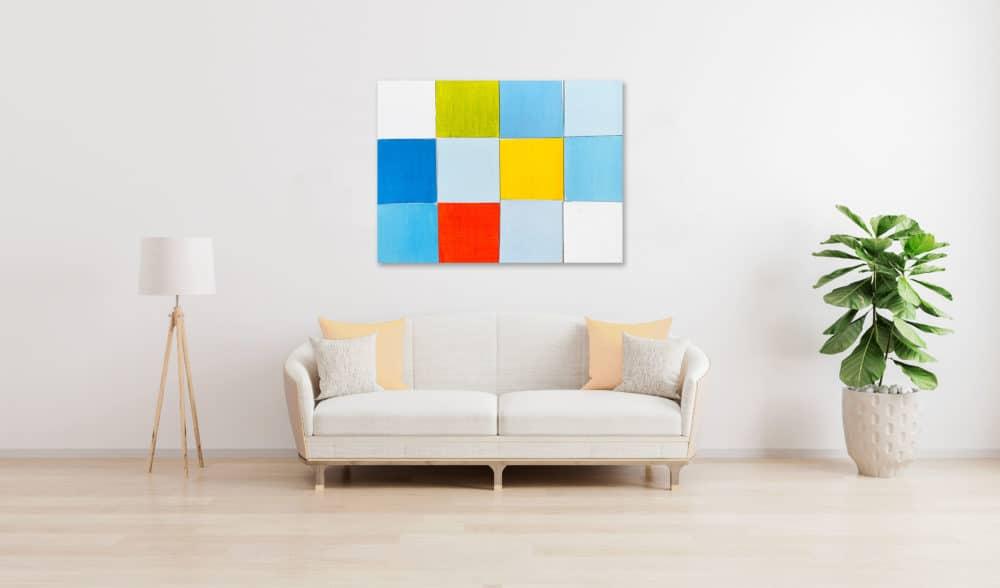 Abstraktes Acrylbild Rotes Quadrat mit Blau und Gelb wandbild
