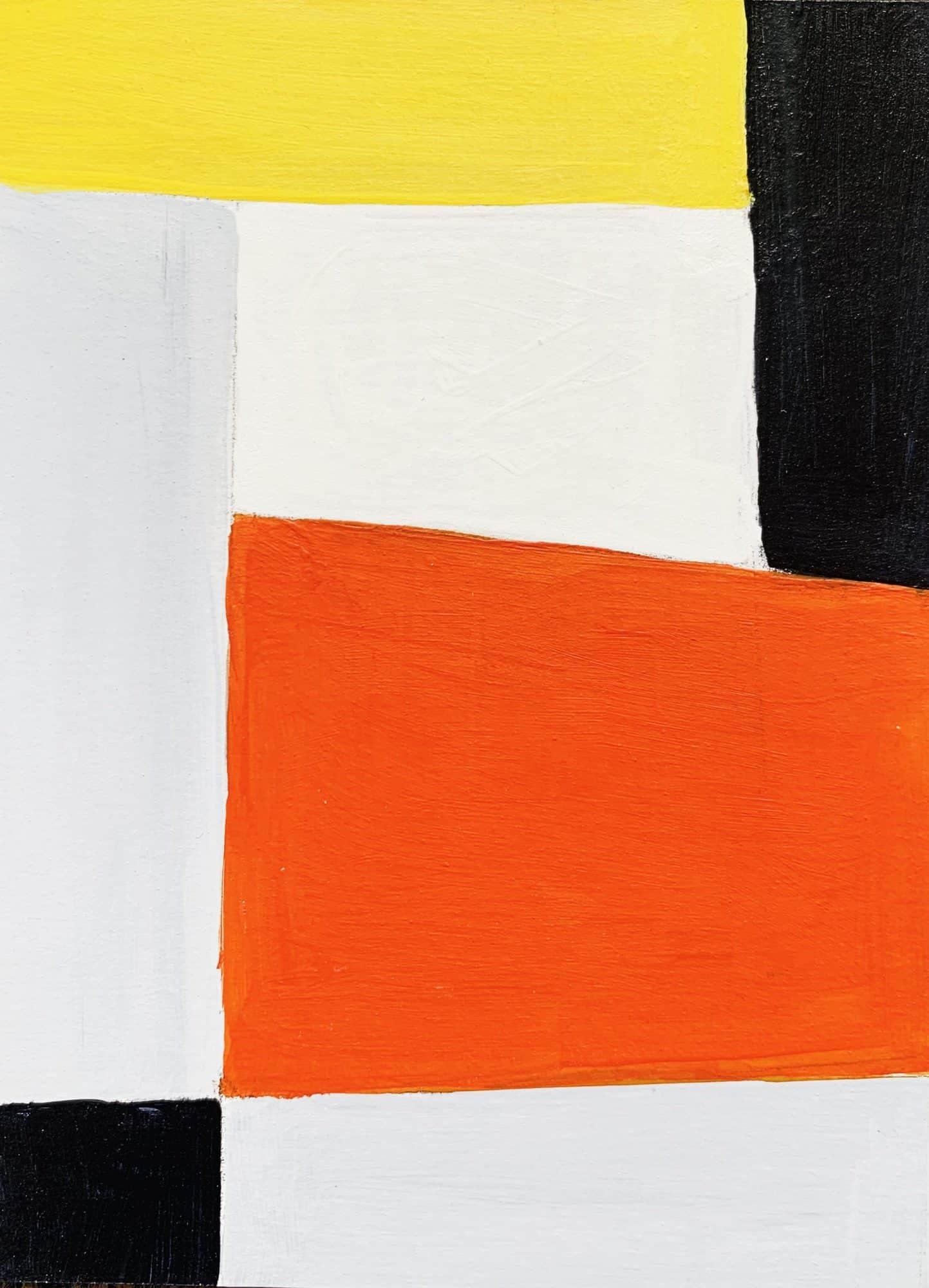Abstraktes Acrylbild Rotes Rechteck mit Schwarz und Gelb