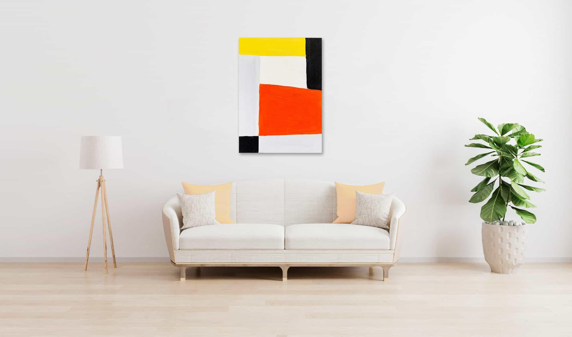 Abstraktes Acrylbild Rotes Rechteck mit Schwarz und Gelb wandbild