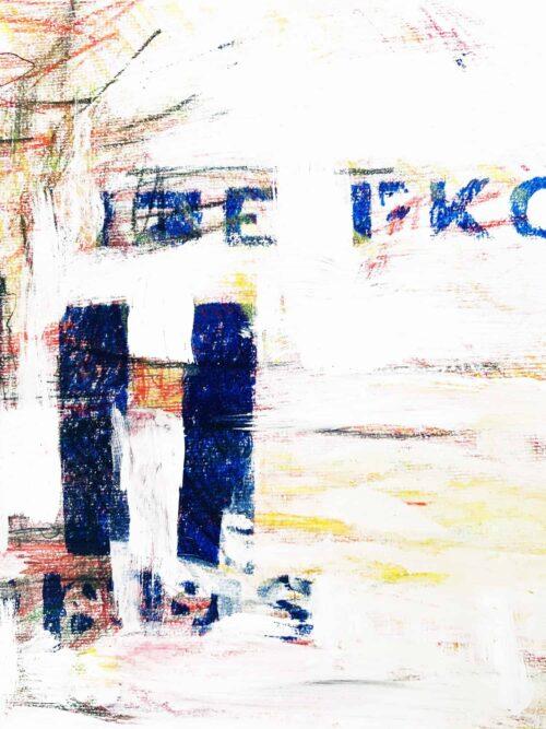 Abstraktes Acrylbild Weiße Helligkeit mit Blau