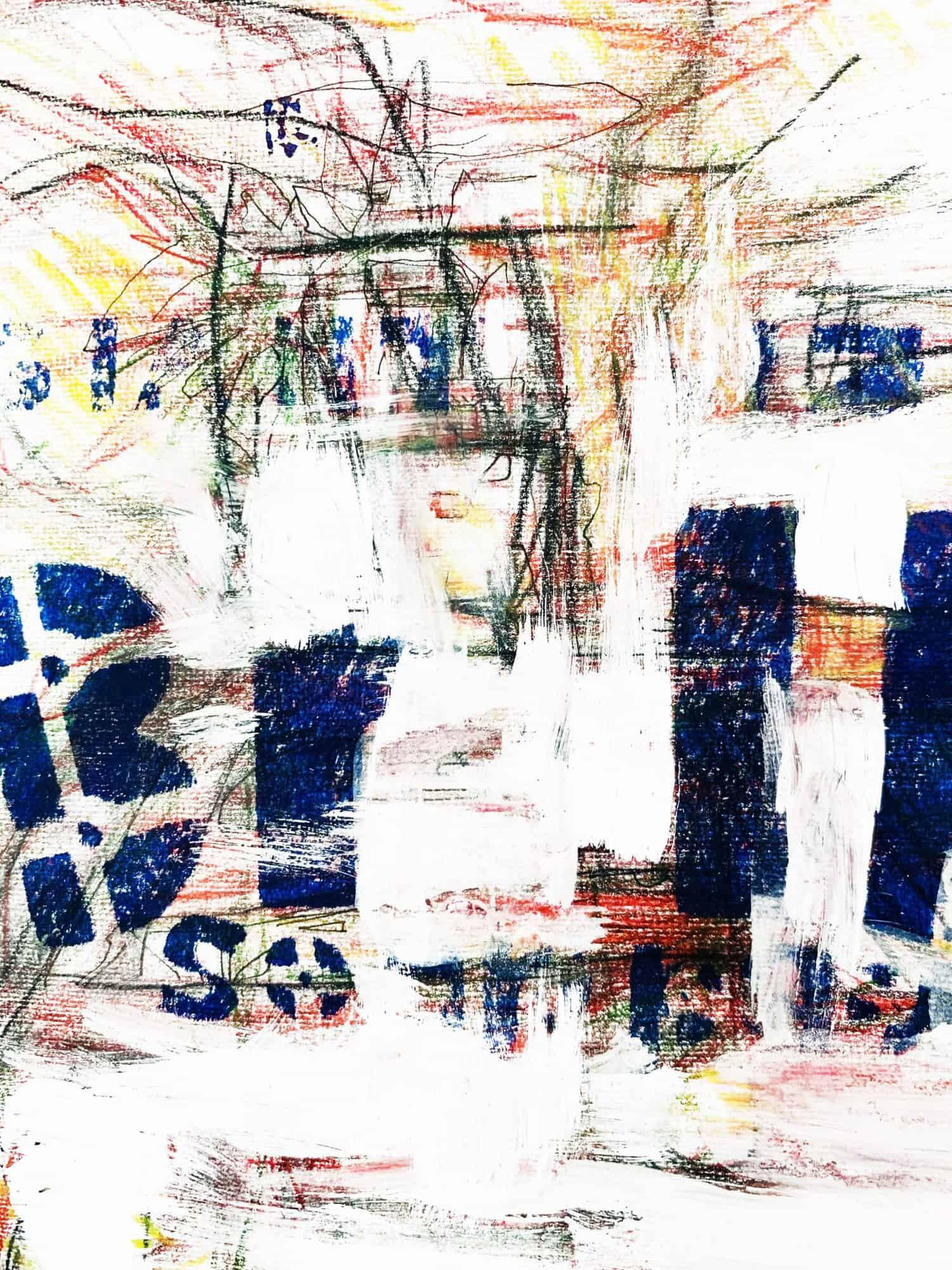 Abstraktes Acrylbild Weiße Helligkeit mit Blau und Zeichnung