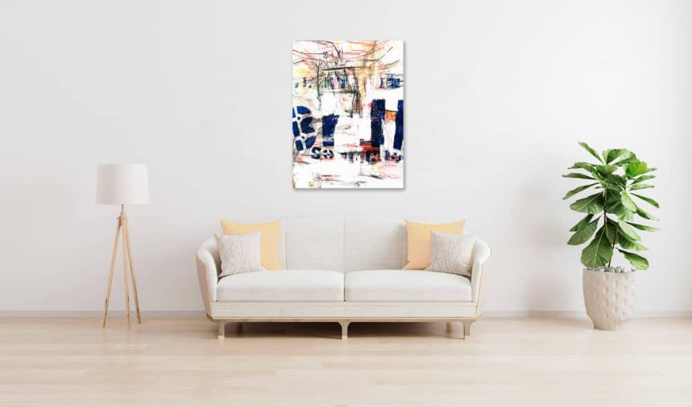 Abstraktes Acrylbild Weiße Helligkeit mit Blau und Zeichnung wandbild