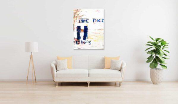 Abstraktes Acrylbild Weisse Helligkeit mit Blau wandbild