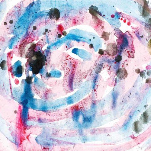 Abstraktes Acrylbild blau rote Zeichnung