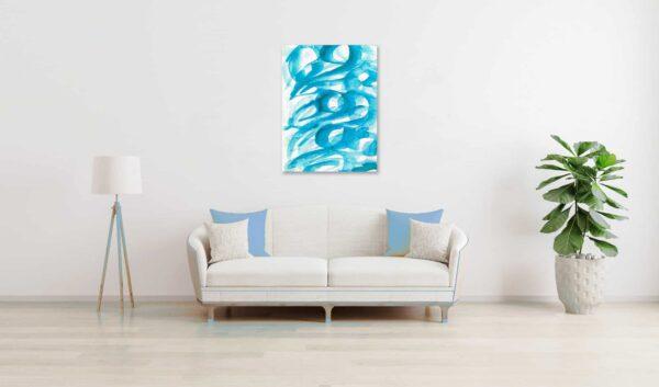 Abstraktes Acrylbild blaue Pinselform wandbild