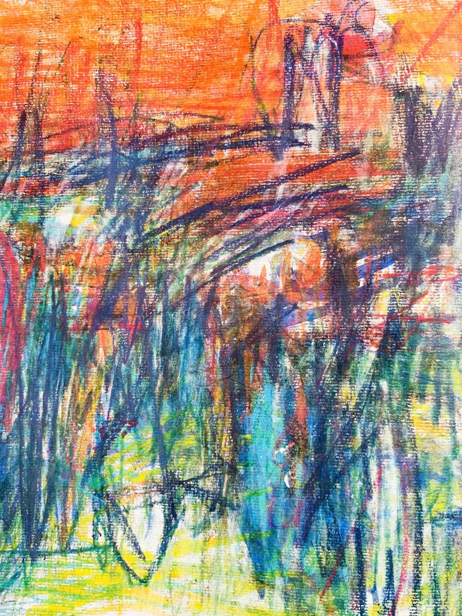 Abstraktes Acrylbild expressive Leichtigkeit mit Orange und Grün