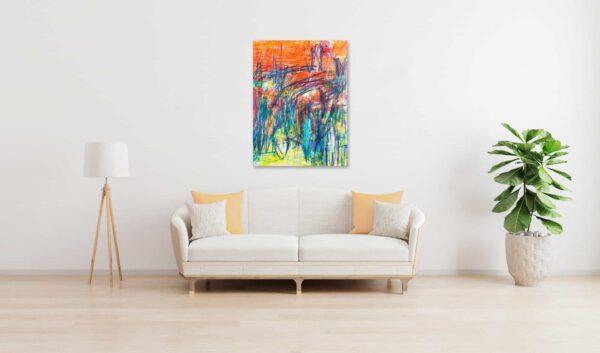 Abstraktes Acrylbild expressive Leichtigkeit mit Orange und Grün wandbild