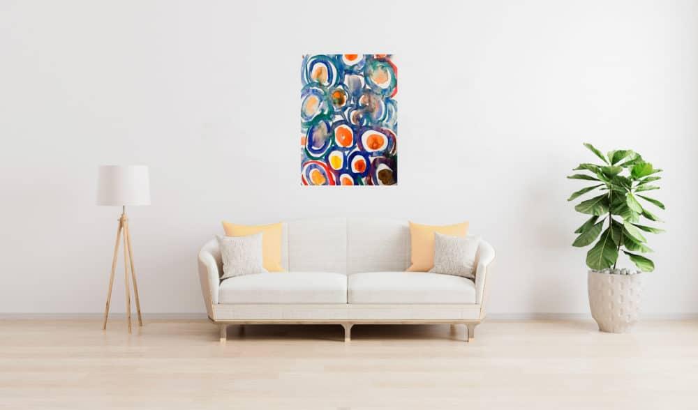 Abstraktes Acrylbild expressive farbige Kreise wandbild