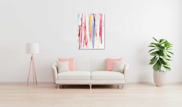 Abstraktes Acrylbild farbige leichte Linien wandbild
