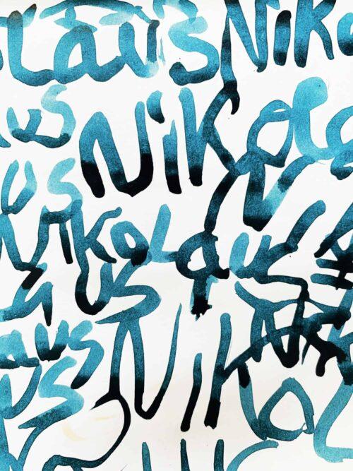 Abstraktes Acrylbild leicht blaue Schrift