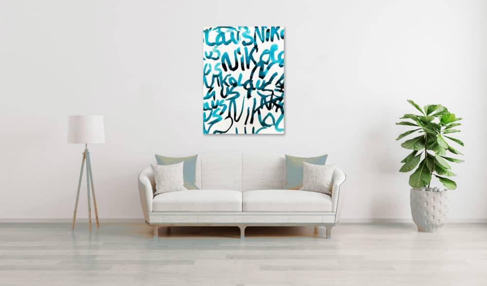 Abstraktes Acrylbild leicht blaue Schrift wandbild