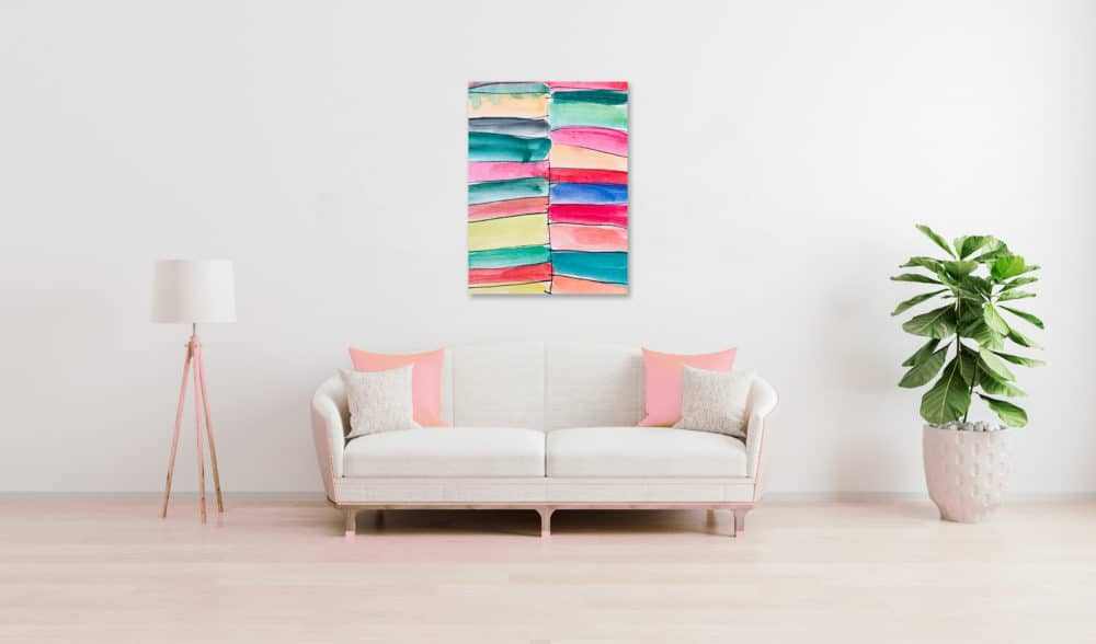Abstraktes Acrylbild leichte farbige Flächen wandbild