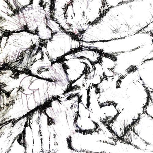 Abstraktes Acrylbild leichte schwarz weiße Zeichnung