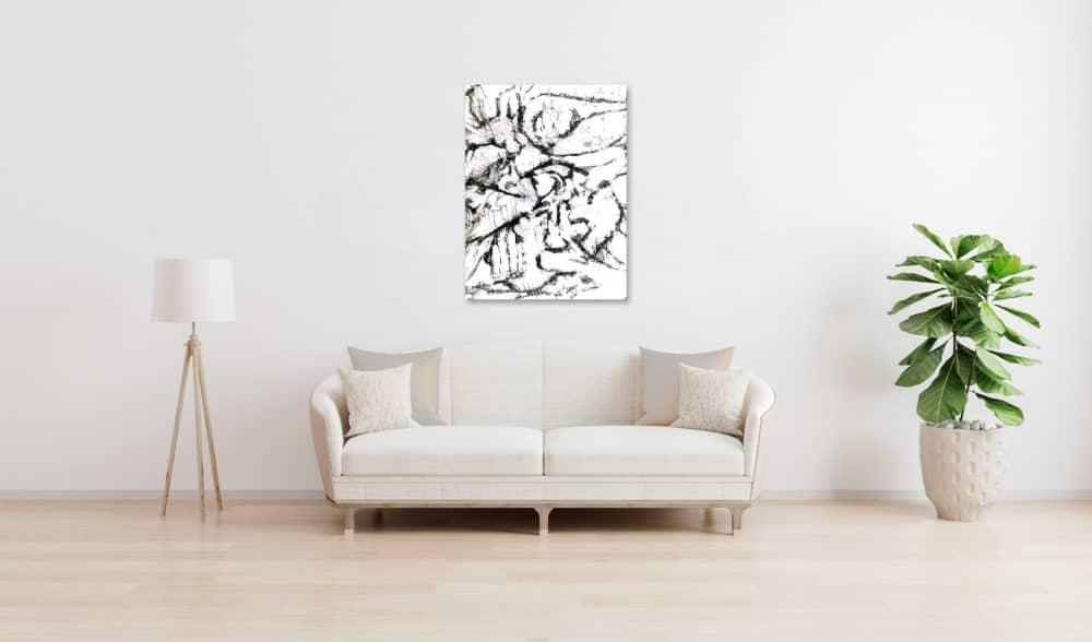 Abstraktes Acrylbild leichte schwarz weiße Zeichnung wandbild