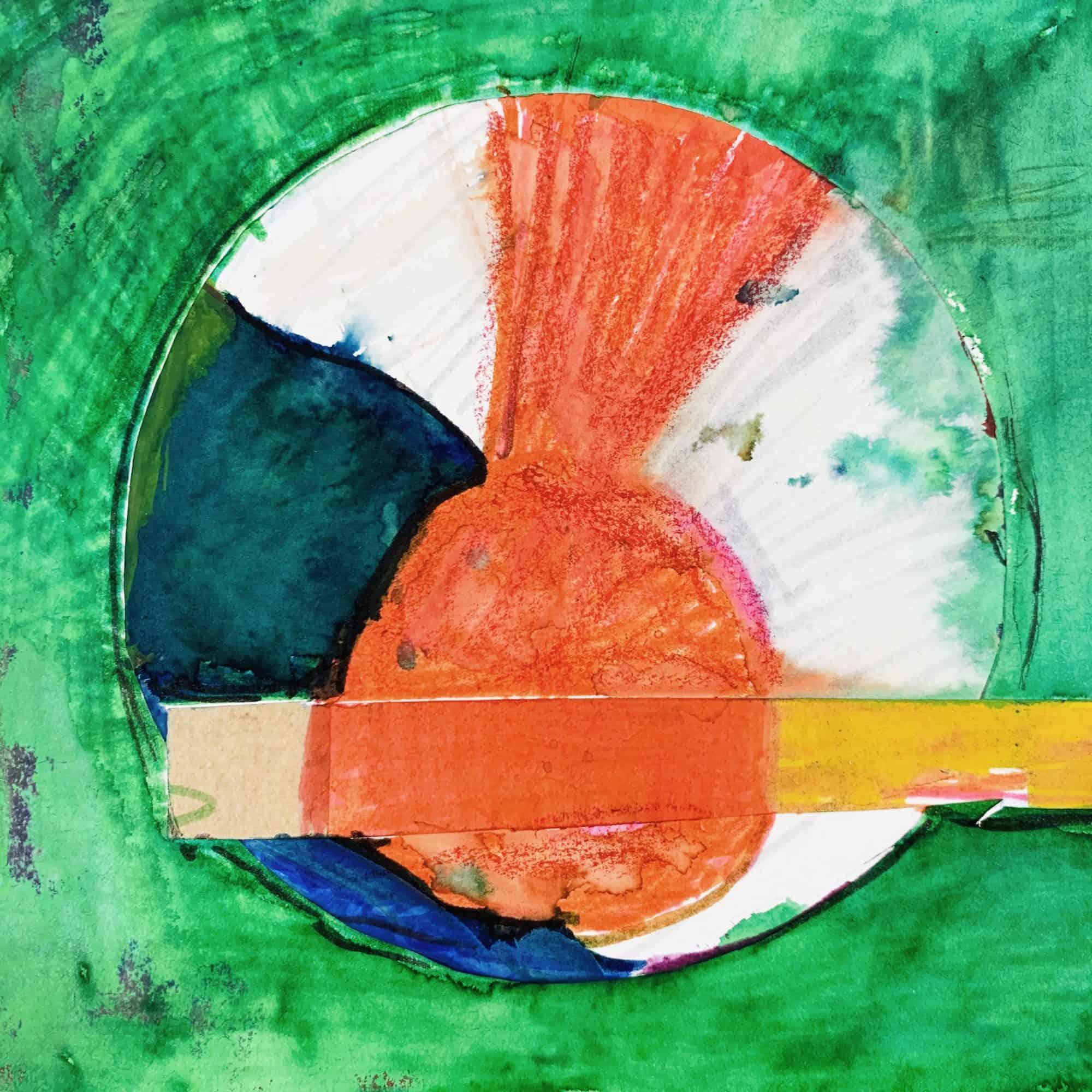 Abstraktes Acrylbild roter Kreis und Grün