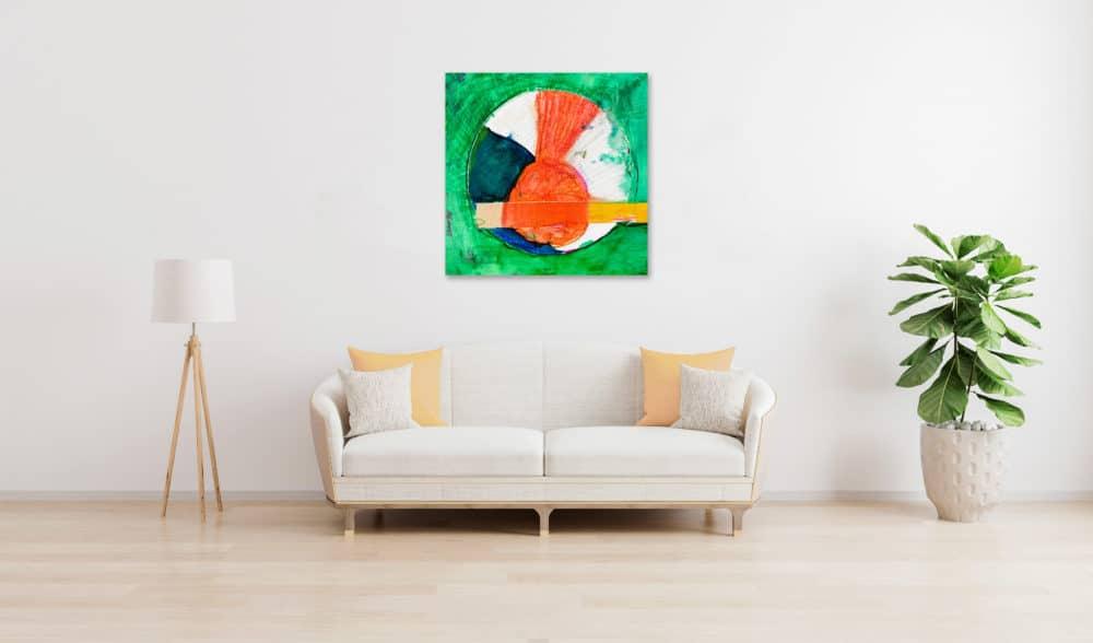 Abstraktes Acrylbild roter Kreis und Grün wandbild