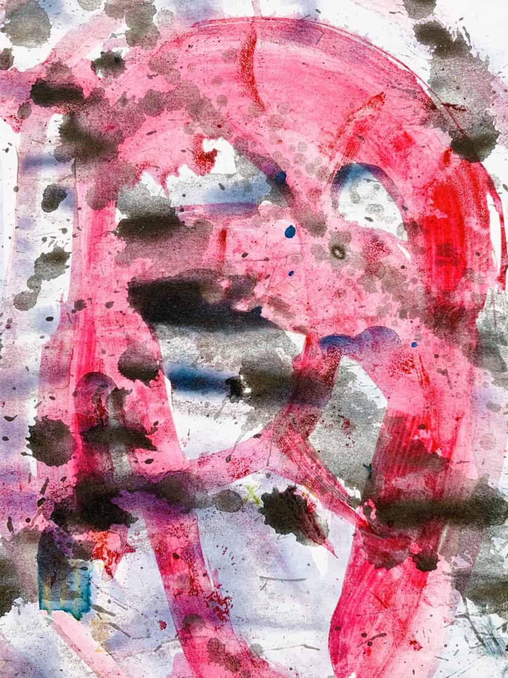 Abstraktes Acrylbild schwarz rote Zeichnung