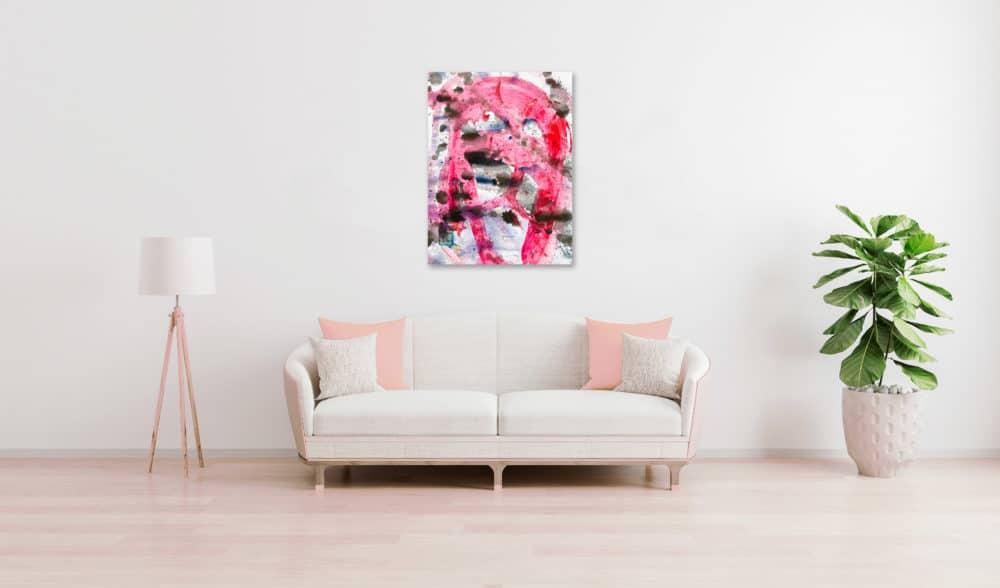 Abstraktes Acrylbild schwarz rote Zeichnungwandbild