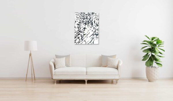 Abstraktes Acrylbild schwarz weiße Zeichnung hell wandbild