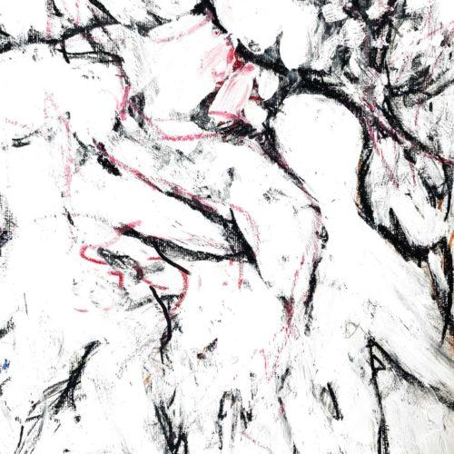 Abstraktes Acrylbild schwarz weiße Zeichnung hell