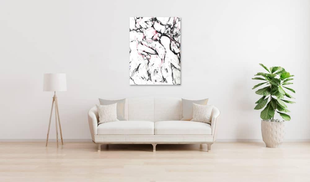 Abstraktes Acrylbild schwarz weisse Zeichnung wandbild