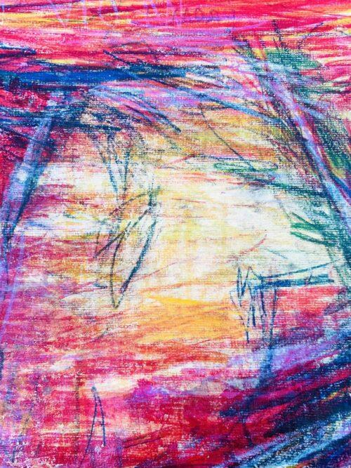 Abstraktes Acrylbild starke Farbigkeit mit Rosa Gelb und Lila