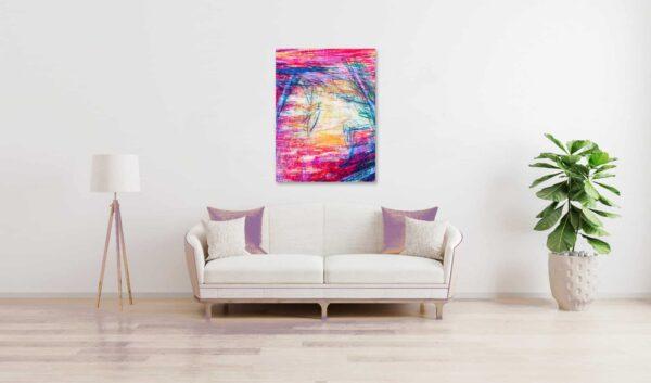 Abstraktes Acrylbild starke Farbigkeit mit Rosa Gelb und Lila wandbild