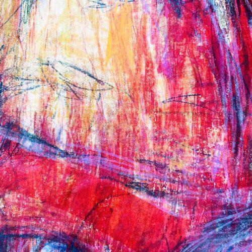 Abstraktes Acrylbild starke Farbigkeit mit Rosa und Lila