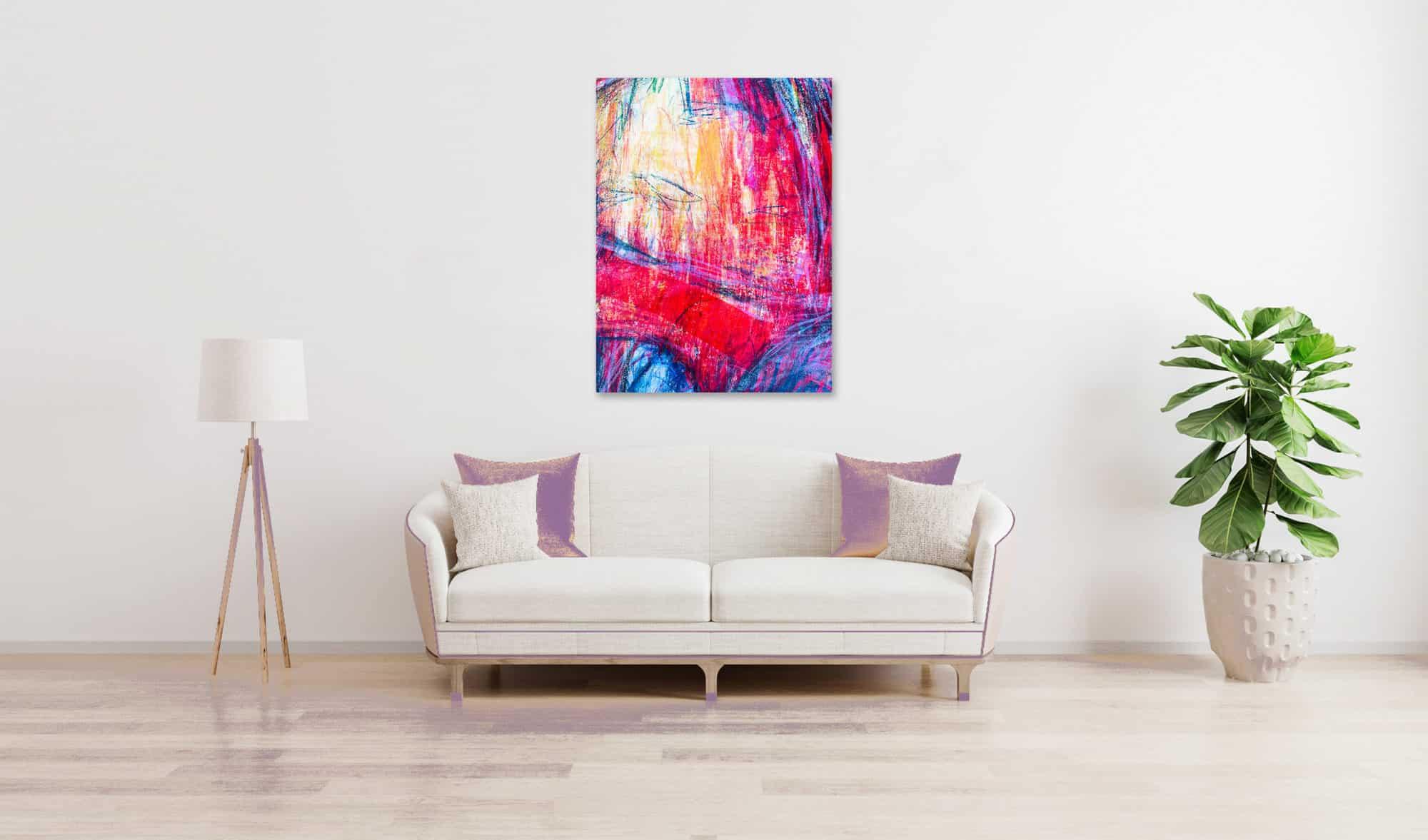 Abstraktes Acrylbild starke Farbigkeit mit Rosa und Lila wandbild