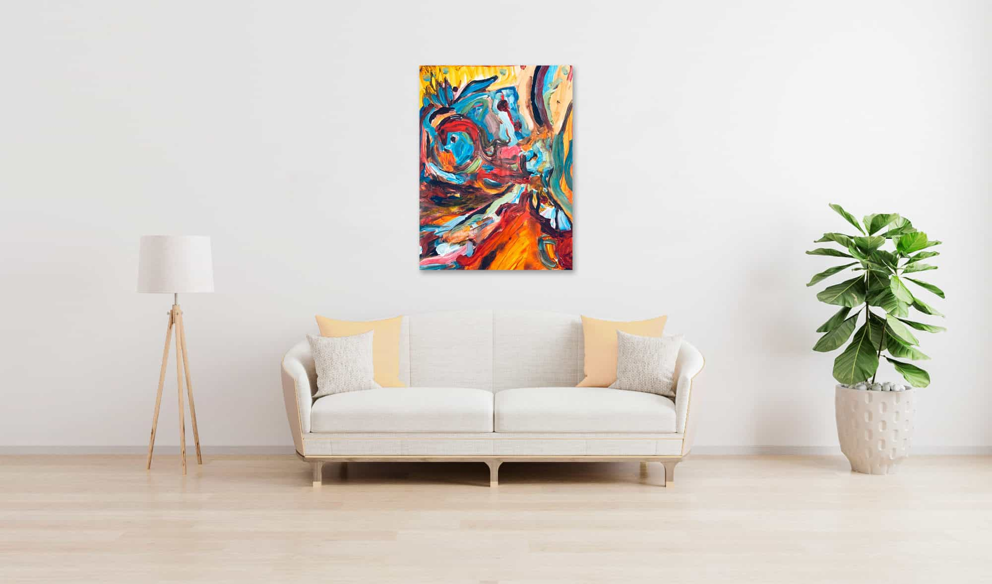 Abstraktes Acrylbild verschimmende Abstraktion wandbild