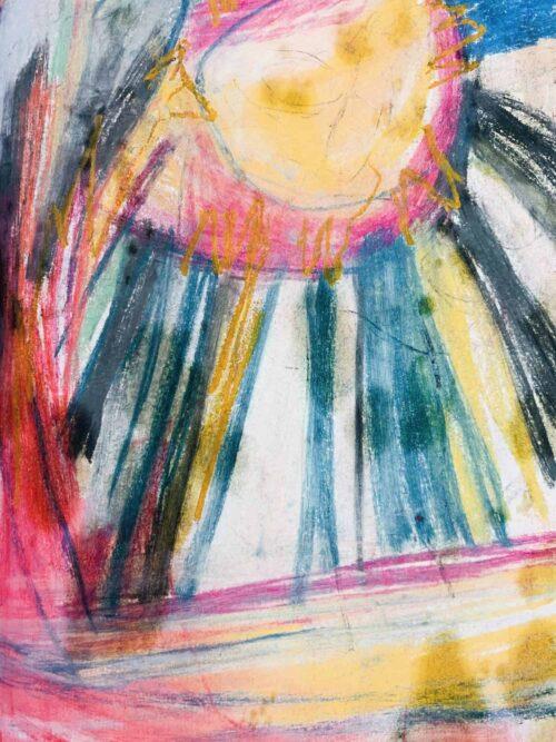 Abstraktes Acrylbild zarte Sonne mit Strahlen