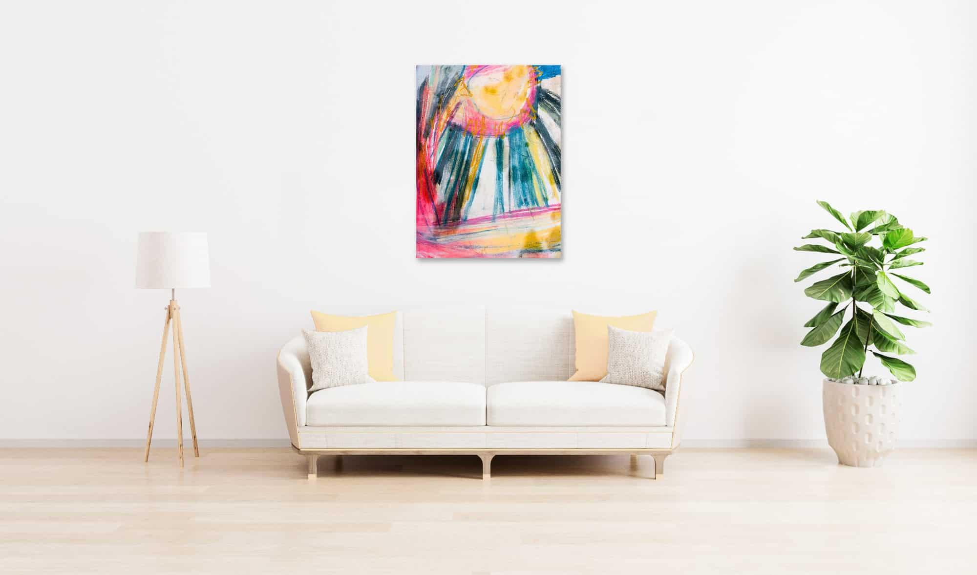 Abstraktes Acrylbild zarte Sonne mit Strahlen wandbild