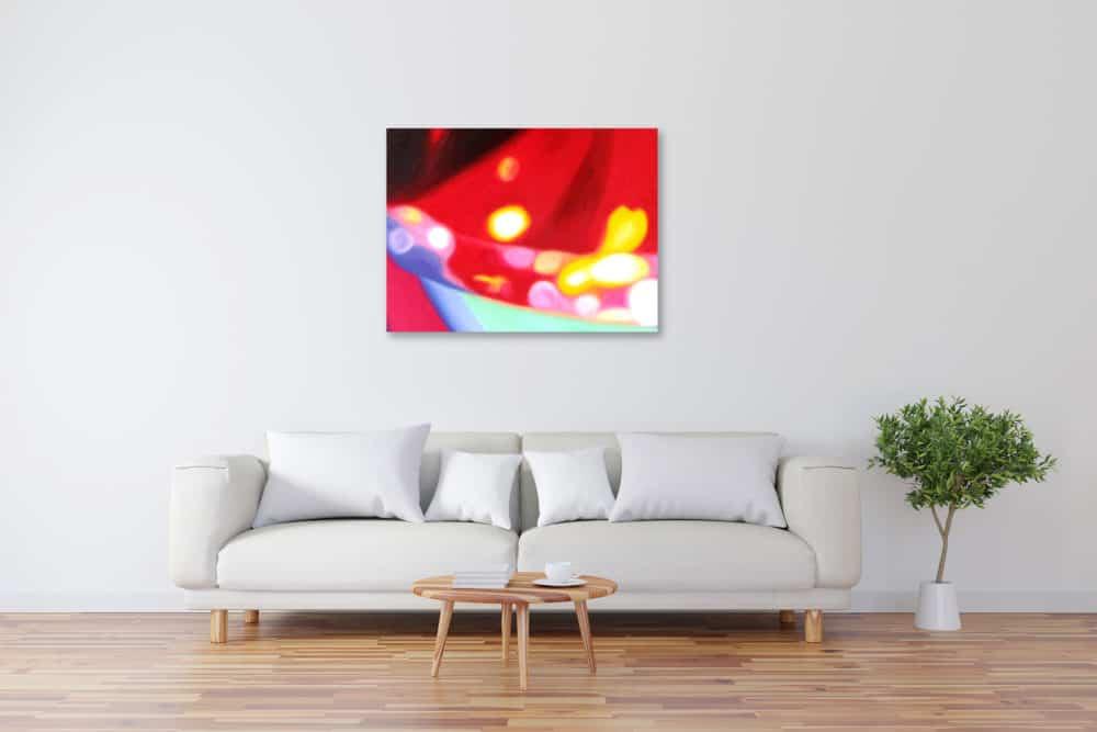Abstraktes Kunstbild leuchtend Rot künstler
