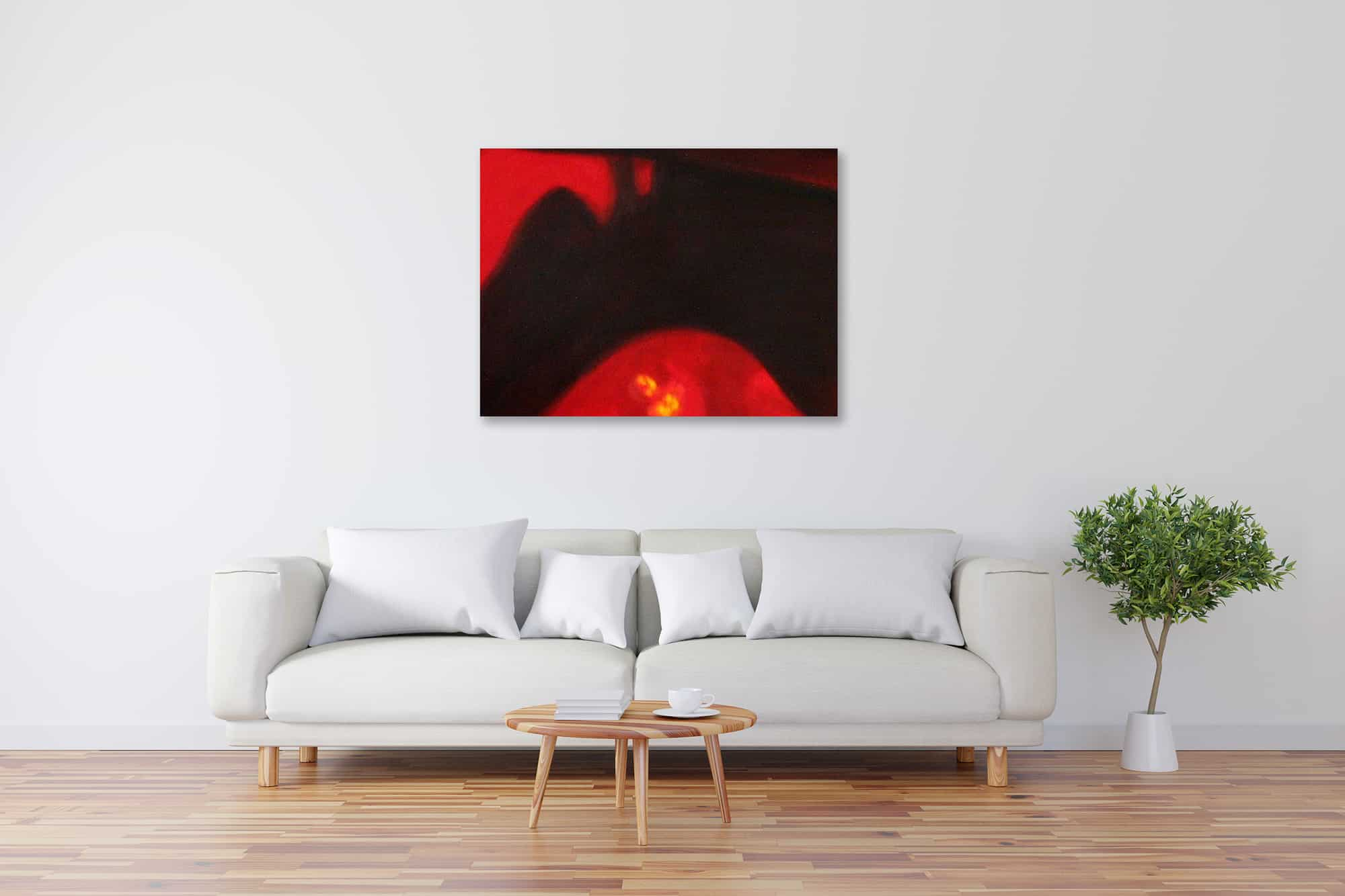 Abstraktes Kunstbild leuchtend Rot Schwarz künstler