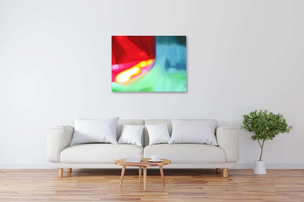 Abstraktes Kunstbild leuchtend Rot und Gelb künstler