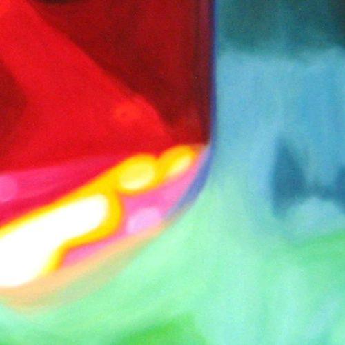 Abstraktes Kunstbild leuchtend Rot und Gelb