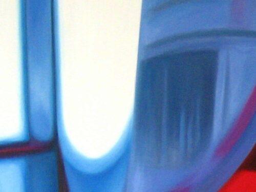 Abstraktes Kunstbild leuchtendes Blau mit Licht