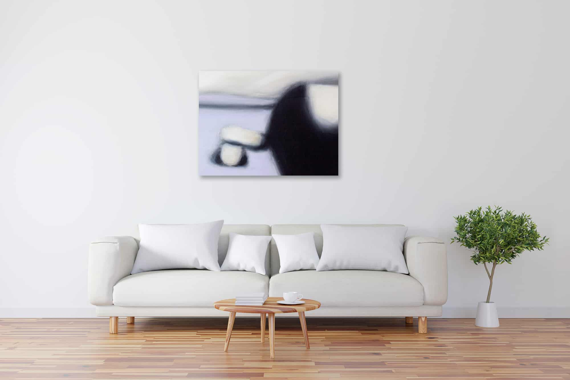 Abstraktes Kunstbild Weiß Schwarz Lila künstler