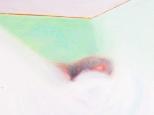 Abstraktes Kunstbild Weiß hell Grün