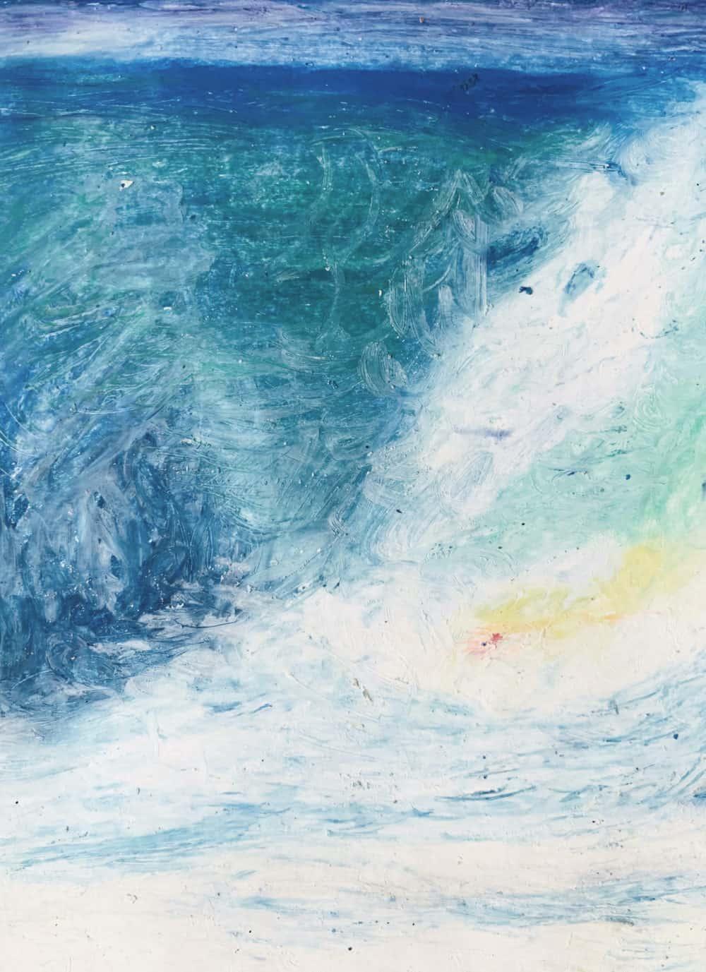 Abstraktes Ölgemälde auf Leinwand Blau Weiß