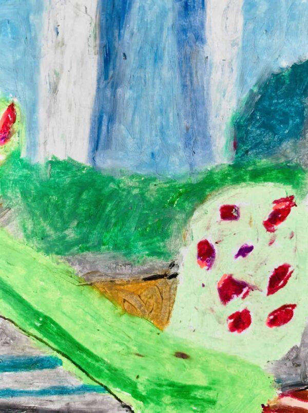 Abstraktes Ölgemälde auf Leinwand Grüne Stimmung mit Blüten