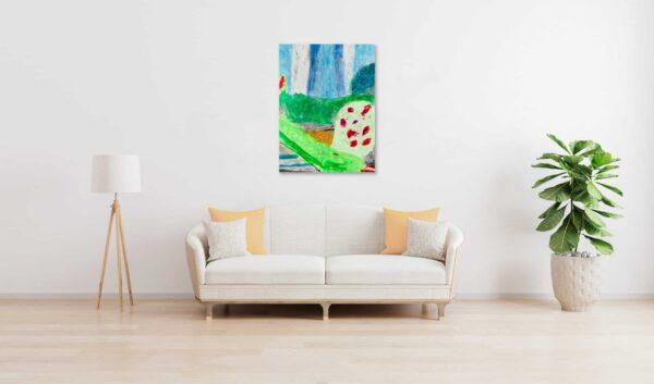 Abstraktes Ölgemälde auf Leinwand Grüne Stimmung mit Blüten wandbild