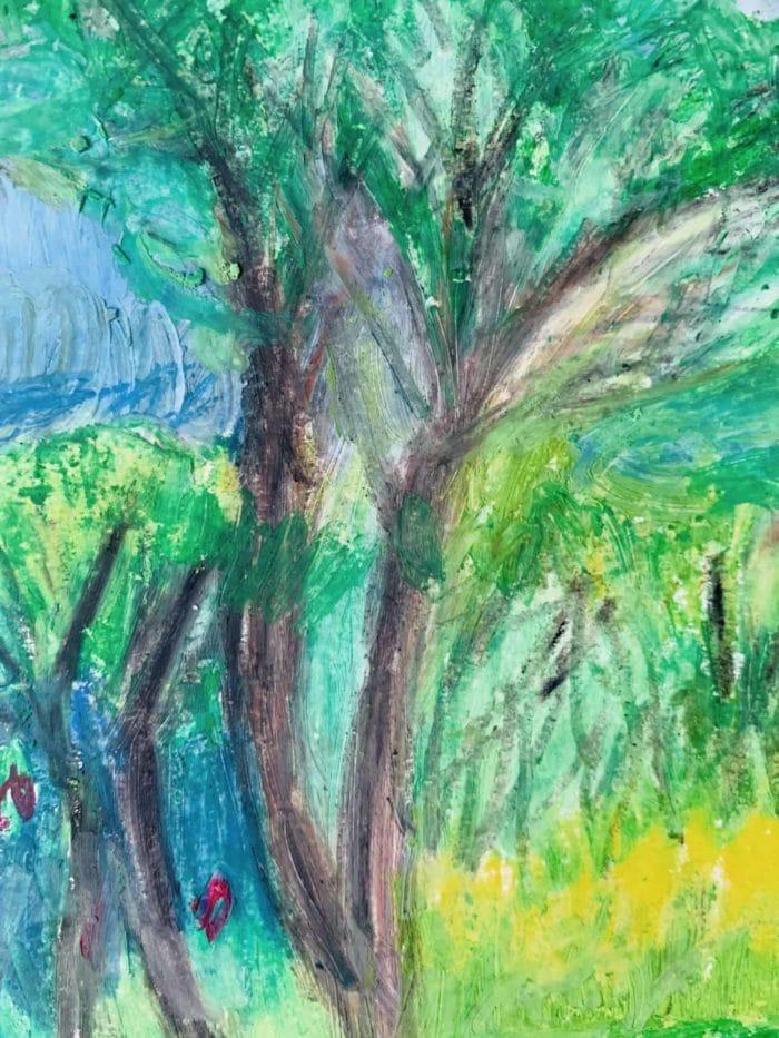 Abstraktes Ölgemälde auf Leinwand Landschaft mit Baum