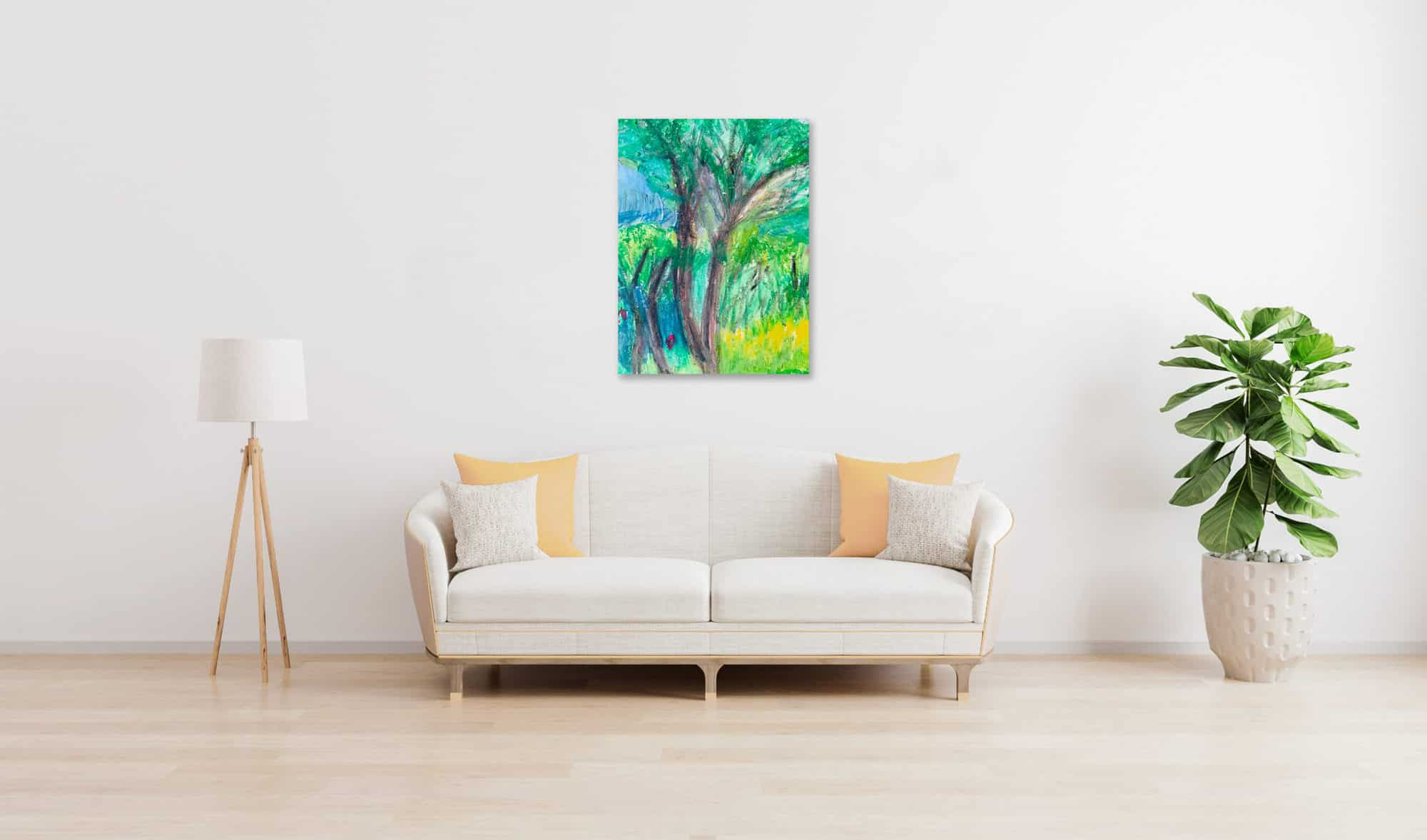 Abstraktes Ölgemälde auf Leinwand Landschaft mit Baum wandbild
